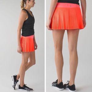 Lululemon Pleat to Street Orange Tennis Skirt